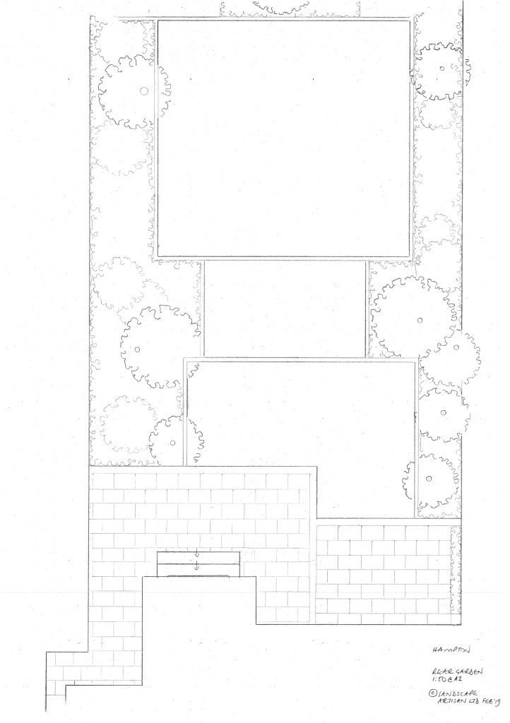rear garden landscaping plan Hampton.