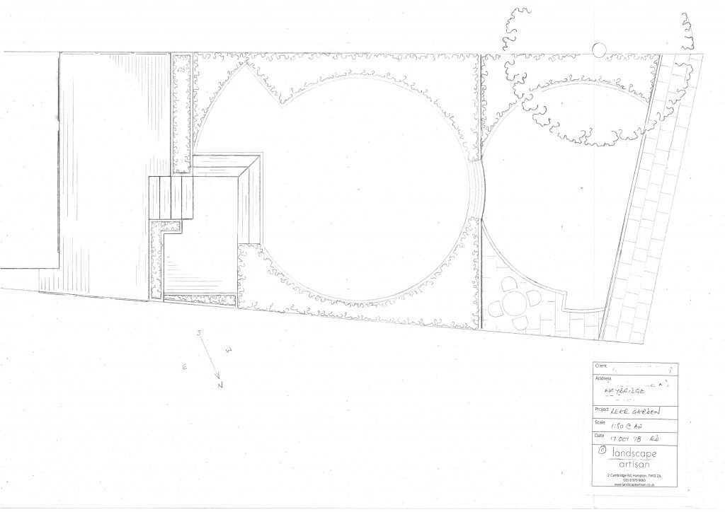 rear garden landscaping plan Weybridge.